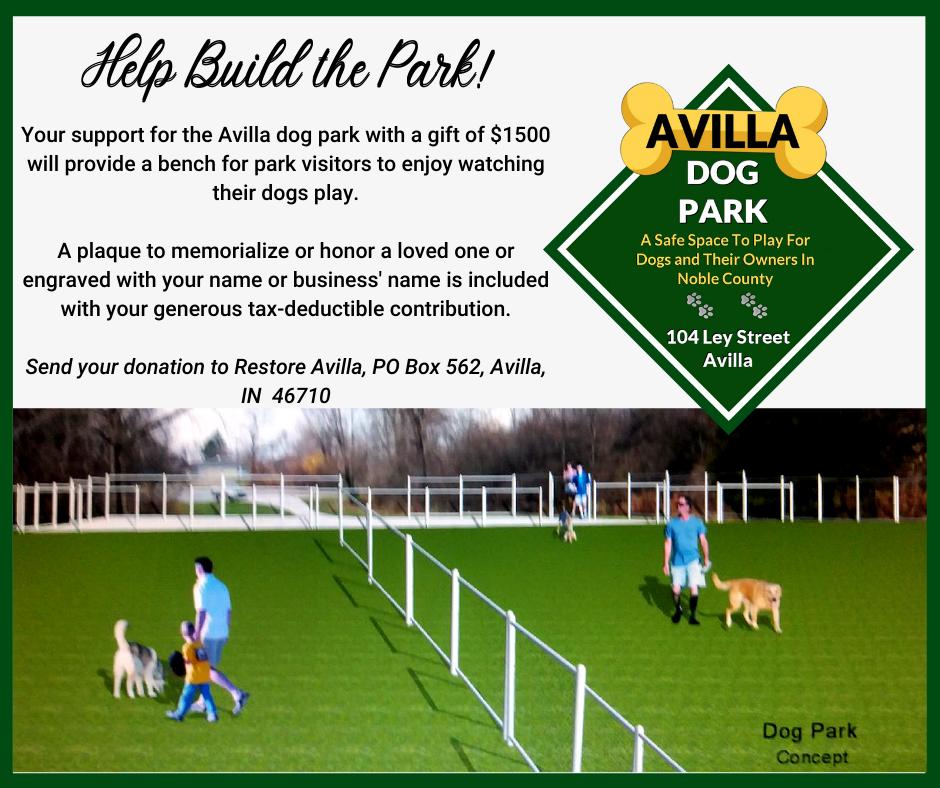Avilla Dog Park Bench Donation Opportunity